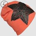 Вязаная Шапка Для Женщин 2016 Зимние Шапки Кленовый лист Большой пятиконечная Звезда Шляпа Открытый Крючком Skullies Шапочки Gorros женский 6226