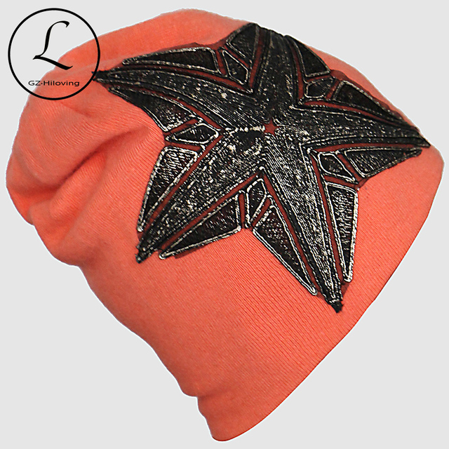Knitted Cap For Women 2016 Winter Hats Maple Leaf Big Five-pointed Star Hat Outdoor Crochet Skullies Beanies Gorros Female 6226