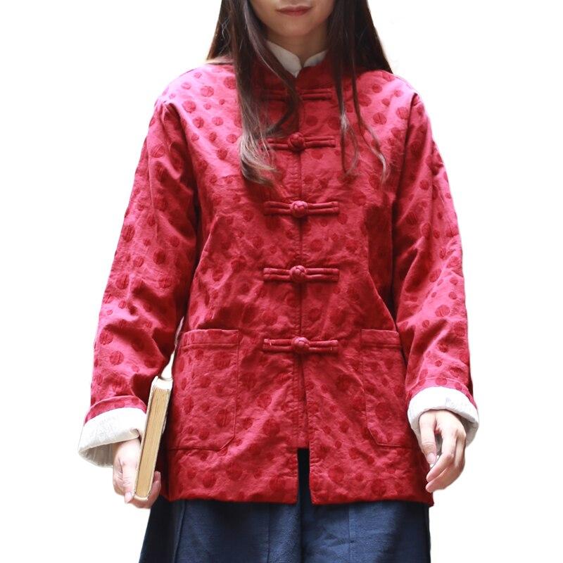 Printemps automne manteau traditionnel chinois hauts femmes Blouses à pois Cheongsam haut Vintage chemise Blusas Femininas vêtement ethnique