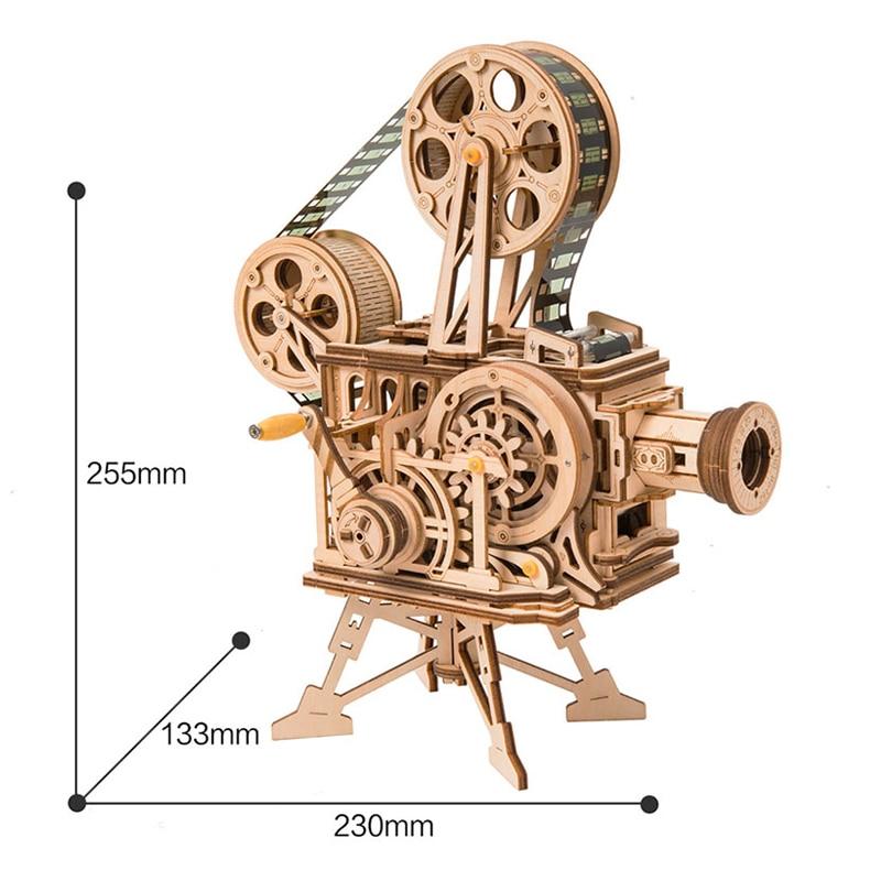 Oyuncaklar ve Hobi Ürünleri'ten Modeli Yapı Setleri'de ROKR el krank projektör klasik Film Vitascope 3D ahşap bulmaca modeli yapı blok oyuncaklar çocuk yetişkin için LK601'da  Grup 2