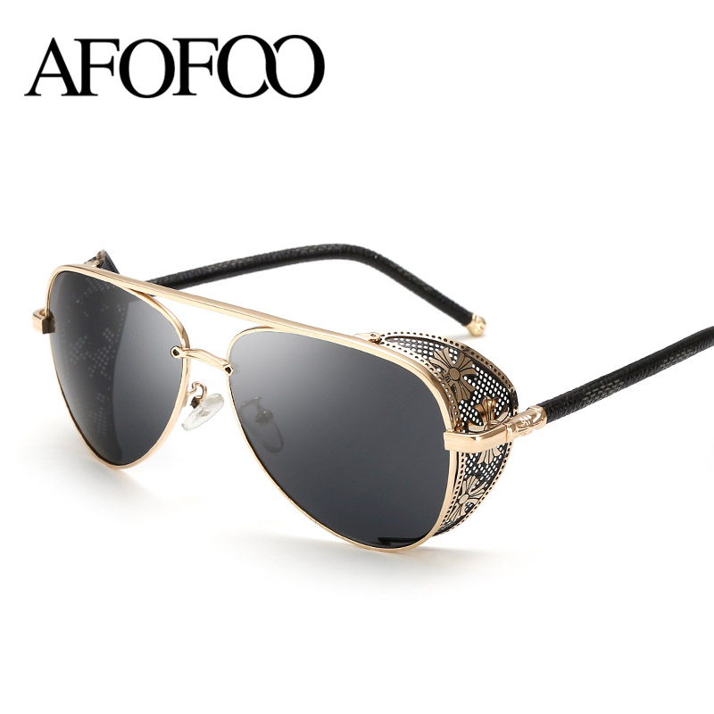 AFOFOO New Fashion Gothic Steam Punk Glasses Brand Designer Vintage Summer Women Men Steampunk font b