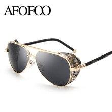 Afofoo Новая мода готический steam punk Очки Брендовая Дизайнерская обувь Винтаж Лето Для женщин Для мужчин стимпанк Солнцезащитные очки для женщин Óculos De Sol