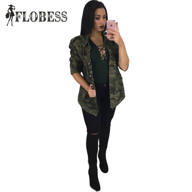 2017 Fashion Women Camouflage Coat Open Stitch Slim Coat Turn-down Collar  Long Sleeve Outwear Jacket Casual Female ClothingA