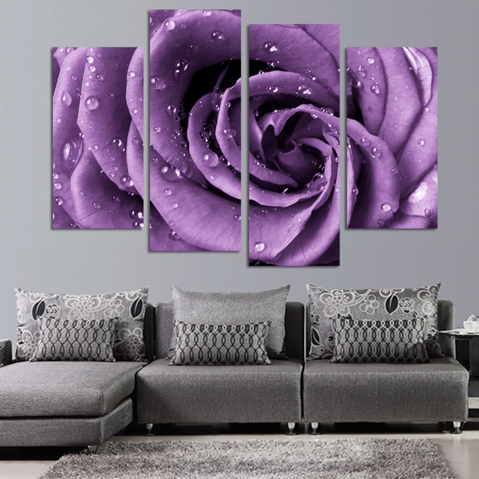 4 Panels Canvas Print Purple Rose Painting On Canvas Wall Art Picture Home  Decor FOU036 In Painting U0026 Calligraphy From Home U0026 Garden On Aliexpress.com  ...