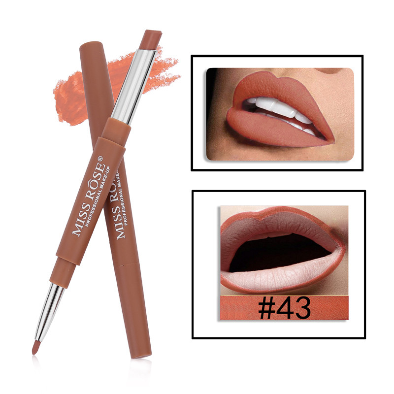 43 8 Color Double-end Lip Makeup Lipstick Pencil Waterproof Long Lasting Tint Sexy Red Lip Stick Beauty Matte Liner Pen Lipstick