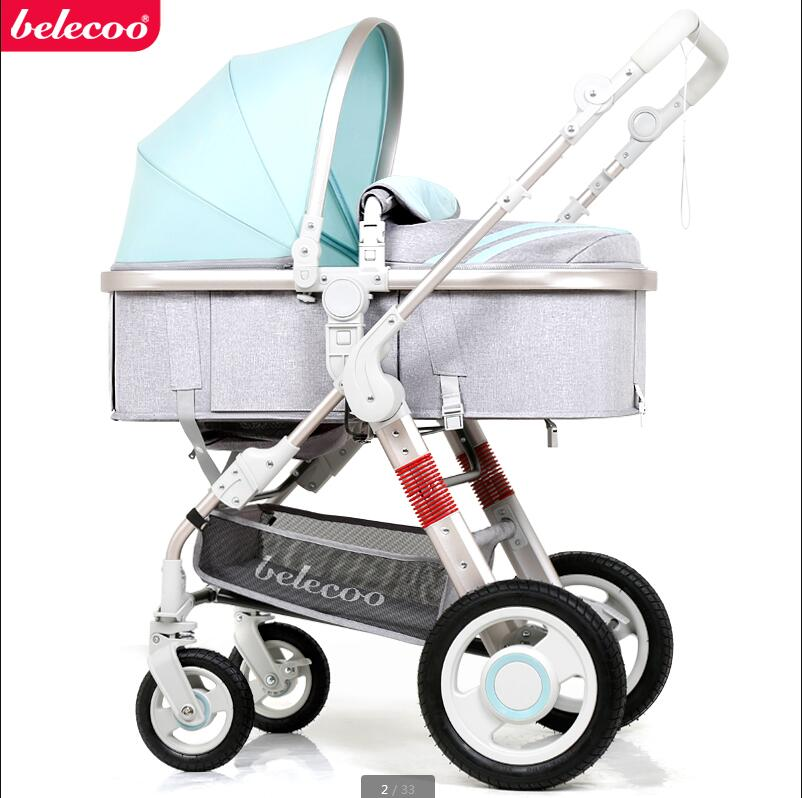 belecoo Baby stroller can sit reclining folding light portable high landscape shock baby trolley baby strollers high landscape lightweight aluminum can sit reclining stroller shock absorbers bi fold trolley baby kinderwagen