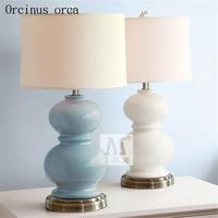 Mediterranean modern minimalist ceramic desk lamp living room bedside lamp American gourd decorative table lamp free shipping