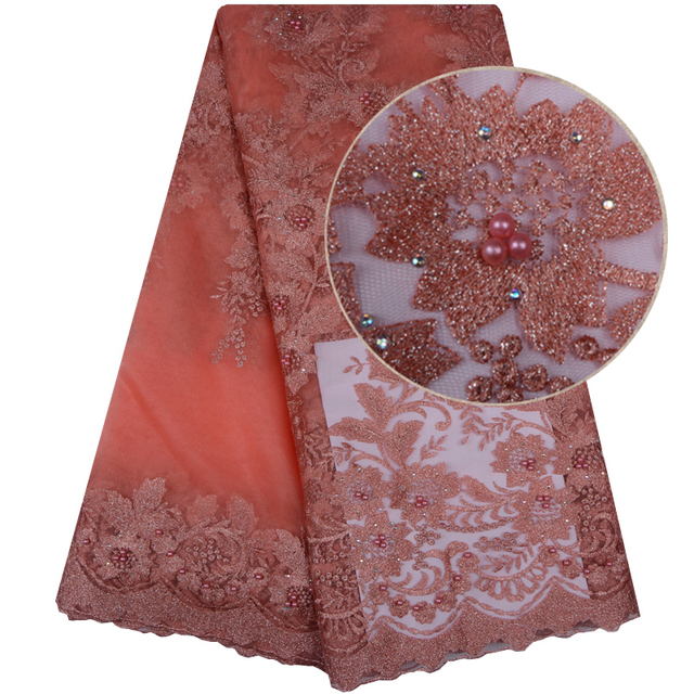 $ US $32.00 High Quality African Lace Fabrics Peach Color Nice French Embroidery Sequins Tulle Lace Fabric For Nigerian Party Dress 1099B