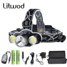 Z20 Gift set Headlight rechargeable 18650 headlamp 10000LM light head lamp XM-T6 flashlight head Torch choose powerbank function