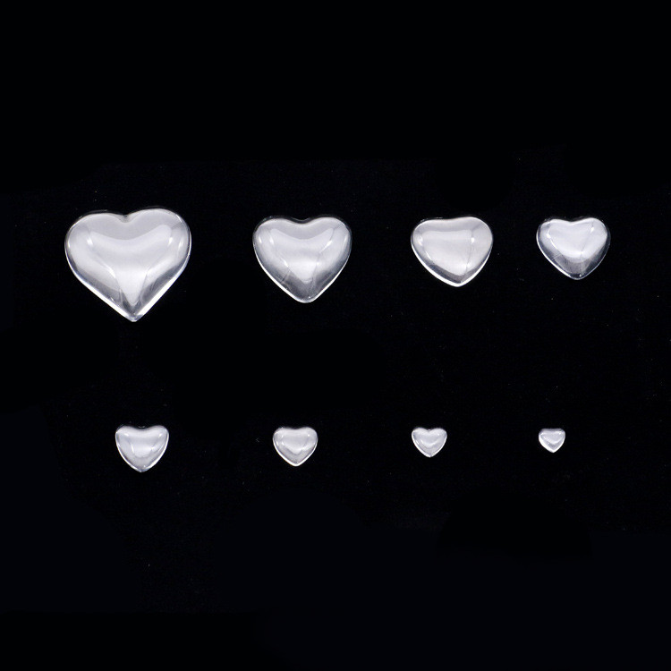 8/10/12/16/18/20/25/30/35mm Glass Heart Cabochon Transparent Clear Cameo Cover Cabs Glass Spacers Gem Beads For Jewelry Making