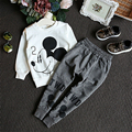 Spring And Autumn Baby Girl Sweater Children Cotton Casual Sweater+Trousers two pieces suit Round Neck Character Clothing Set