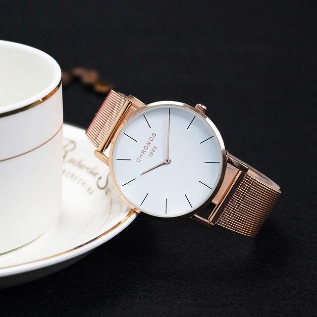CHRONOS Fashion Men Women Red Leather Quartz Watches Simple Mesh Band Wrist Watch Female Rose Gold Clock Relogio Masculino