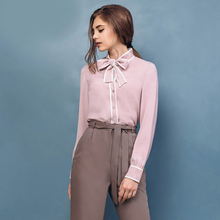 2017 г. женские элегантные блузка рубашка с длинными рукавами с галстуком-бабочкой в полоску на пуговицах Офисные женские туфли носить женские Топы