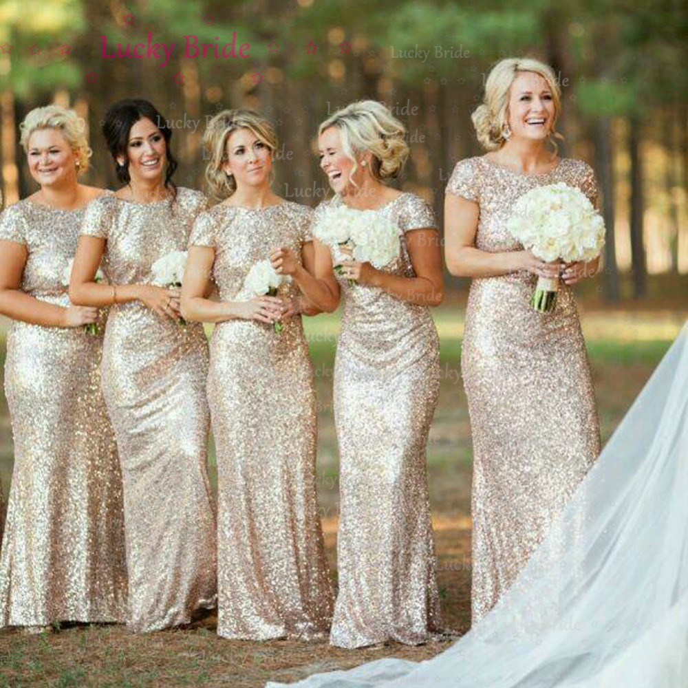 Shiny Nude Sequined Bridesmaid Dresses With Cowl Back Mermaid Maid