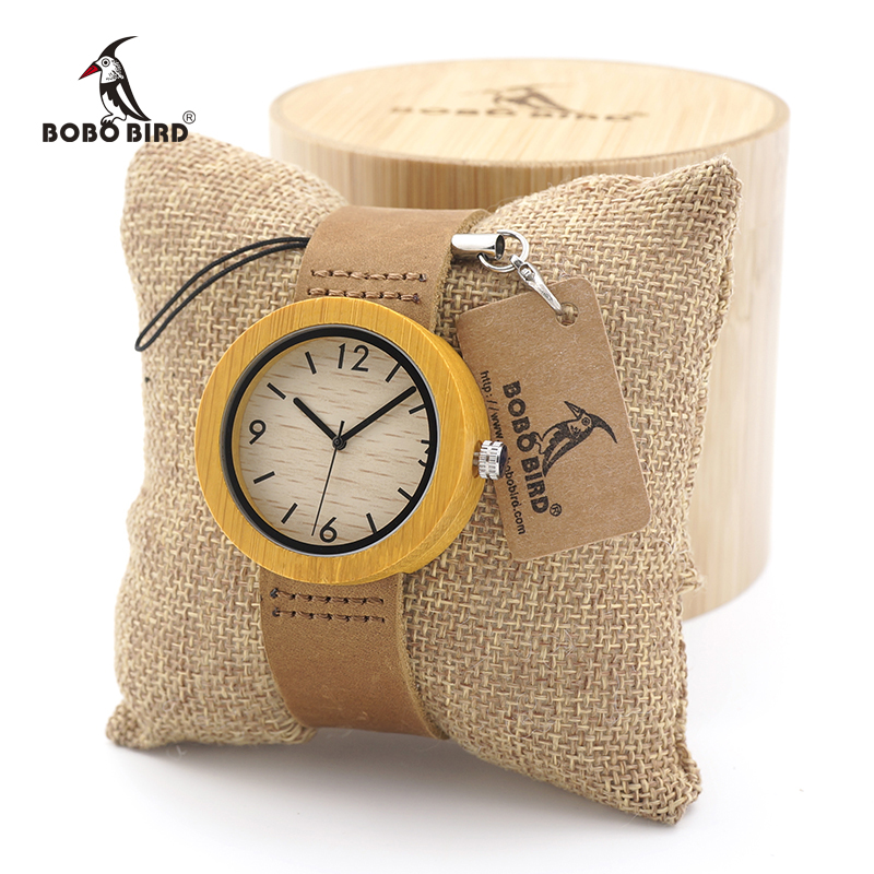 BOBO BIRD Casual Round Bamboo Wooden Watches Japan Movement Quartz Watches with Real Leather strap for Women in Gift Box 2016 bobo bird top brand bobobird men s bamboo wooden bamboo watch quartz real leather strap men watches with gift box