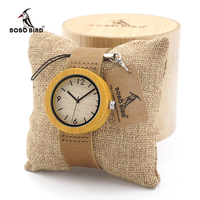 BOBO BIRD Casual Round Bamboo Wooden Watches Japan Movement Quartz Watches with Real Leather strap for Women in Gift Box