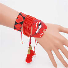 Go2boho Pulseras Mujer 2019 Red Perles MIYUKI Bracelet Heart Bite Lips Bracelet Women Summer Boho Chic Jewelry 8 wrap Crystal chic heart geometric bracelet for women