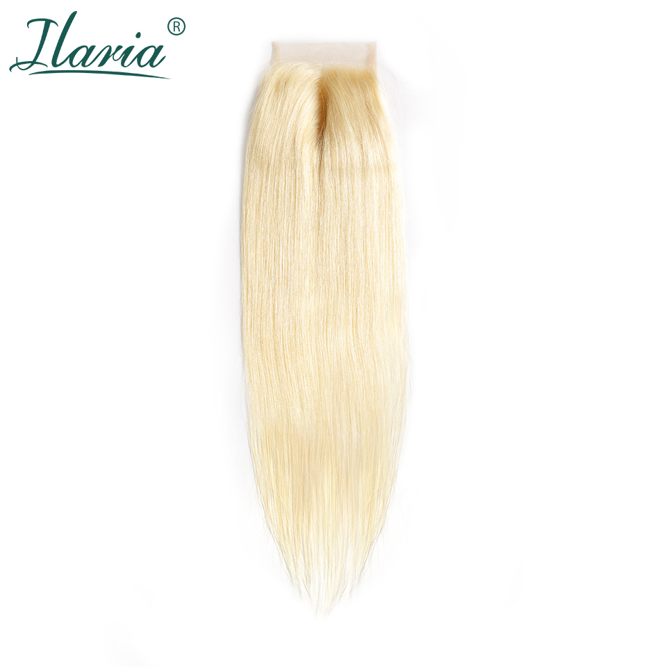 ILARIA HAIR Brazilian Straight 613 Blonde Human Hair Lace Closure 4x4 With Baby Hair Transparent Lace Color Bleached Knots