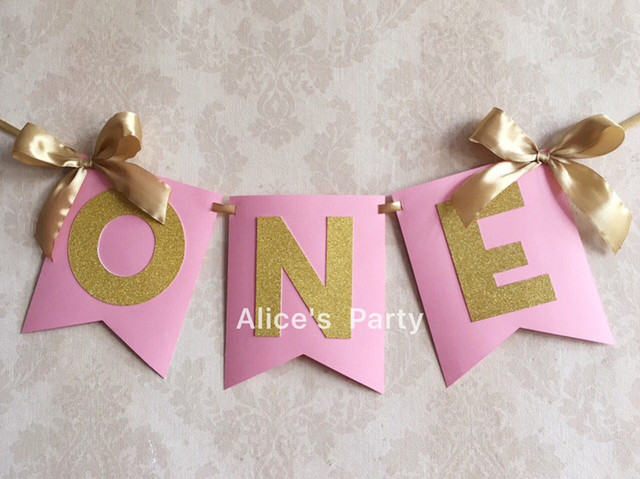 Personalized Pink Gold ONE Banner High Chair Bunting Girl First Birthday Party Flag Baby 1st