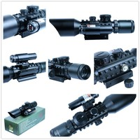 3 10x40 Tactical Optics Reflex Sight Riflescope Picatinny Weaver Mount Red Green Dot Hunting Scopes With Red Laser Free Shipping