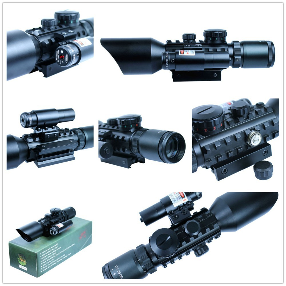 Tactical 3-10x40 Air weapon Rifle Scope Red Laser Dual illuminated Mil-dot w/ Rail Mounts Combo Air soft Weapon Guns air soft weapon gun 3 9x40 hunting rifle scope mil dot illuminated snipe scope