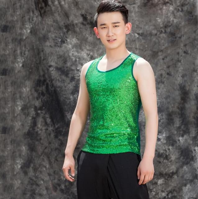 8079ebd4b8519 Hombres originales lentejuelas chaleco ropa camiseta tirantes Hombre  personalizado etapa de danza del cantante estrella calle