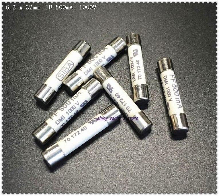 10-30 pcs/Lot 6.3x32mm FF 500mA 1000 V SIBA fusible céramique dmi-fusible pour Fluke fusible universel F15B F17B F18B... etc tout neuf