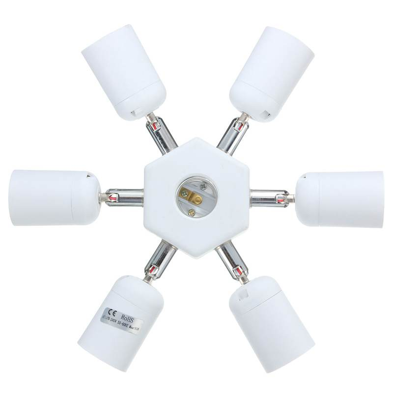 Adjustable Socket Splitter 6 in 1 E27 Lamp Base LED Light Bulb Lamp Holder Converter Adapter AC110-240V