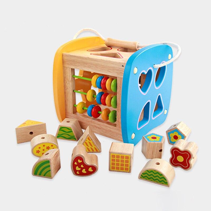 Enfants jouets en bois bébé apprentissage éducation précoce labyrinthe en bois multi-fonction boîte ronde perle Montessori jouets vente chaude