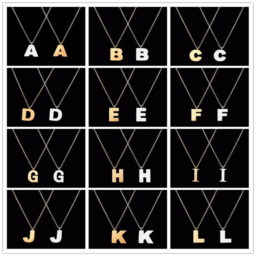 """Litera mare din oțel inoxidabil """"A B C D E F G H I J K L M N O P Q R S T U V W X Y Z"""" Coliere pandantive Bijuterii pentru femei"""