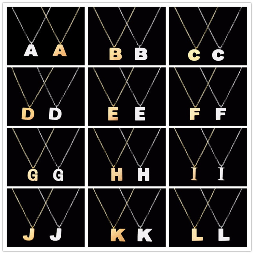 "Veliko slovo od nehrđajućeg čelika ""A B C D E F G H I J K L M N O P Q R S T U V W X Y Z"" Privjesne ogrlice Moda Ženski nakit"