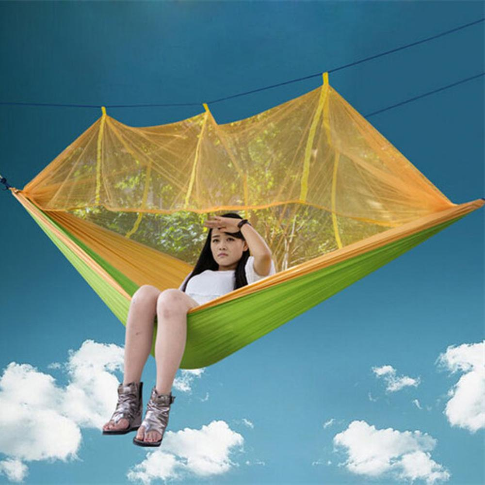Hearty Hammock Sleeping Bag Durable Garden Yard Swings Outdoor Camping Hiking Hanging Bed Mosquito Net Nylon Parachute Hammock Camping & Hiking Sleeping Bags
