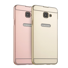 Case For Samsung Galaxy A3 A5 A7 2017 A320 A520 A720 Mirror Metal Phone Plating Aluminum Frame+Mirror 2017 Luxury Back Cover