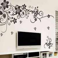 % Classic black butterfly flower vine wall sticker European American style living room bedroom TV sofa backdrop wall poster
