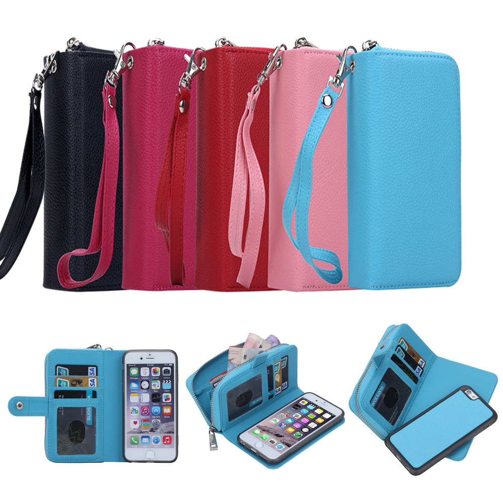 Роскошные Личи шаблон съемный кожаный чехол для iPhone 6 plus/6S плюс 5.5 молнии бумажник чехол телефона задняя крышка сумки