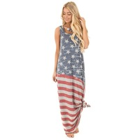 Women's Sleeveless USA Flag Tank Dress Maxi Dress Ankle Length TE3187