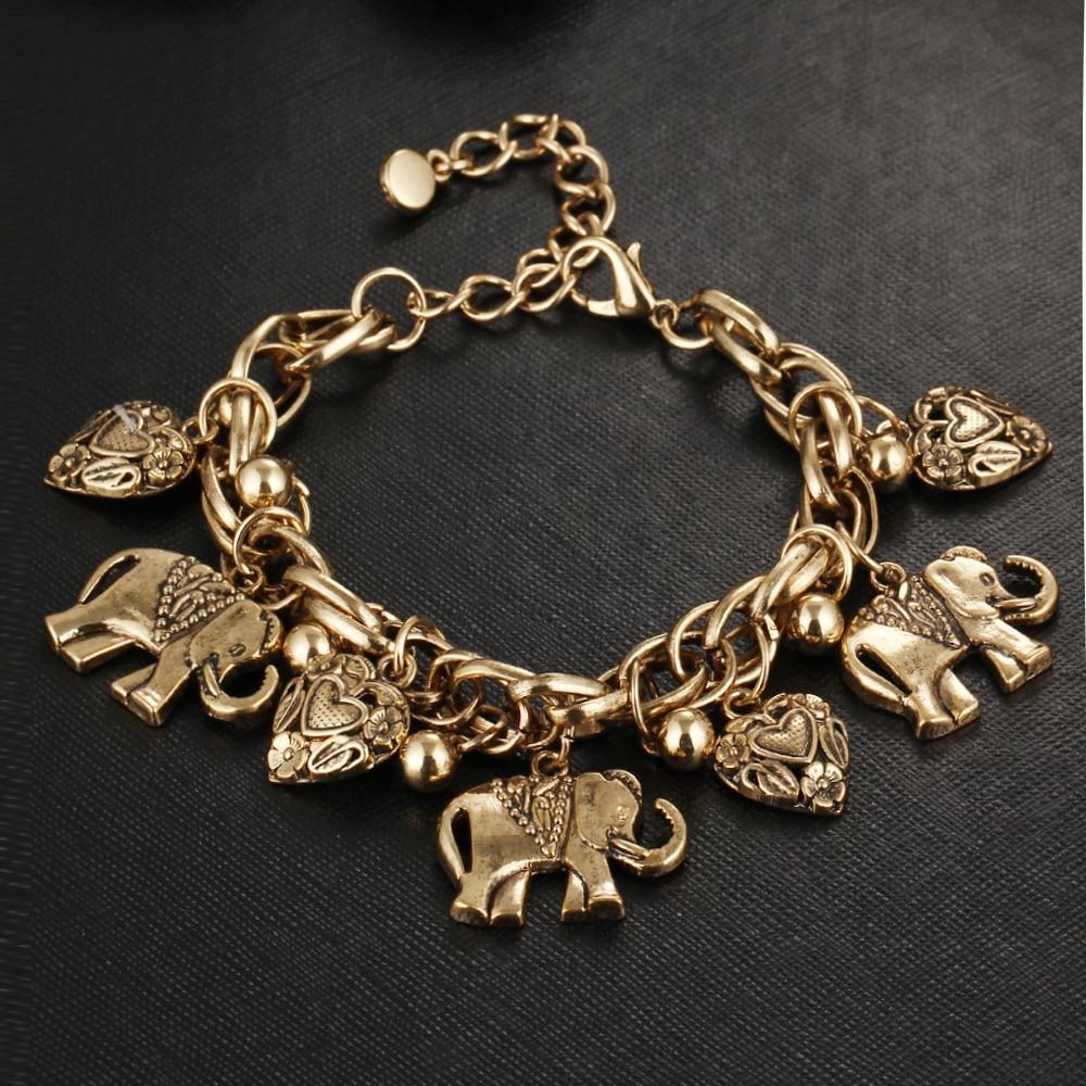 IF ME Vintage Bohemian Gold Color Elephant Heart Charms Bracelets for Women Fashion Chain Gift Pulseira Feminina Jewelry 3