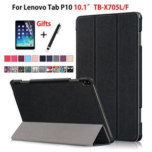 "Case For Lenovo Tab P10 TB-X705L TB-X705F 10.1"" Smart Cover Funda Tablet Slim Magnetic Folding Stand Skin Shell +Film+Pen(China)"
