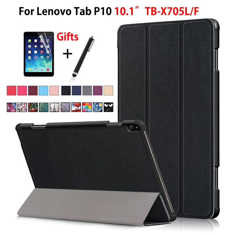 "Case For Lenovo Tab P10 TB-X705L TB-X705F 10.1"" Smart Cover Funda Tablet Slim Magnetic Folding Stand Skin Shell +Film+Pen"