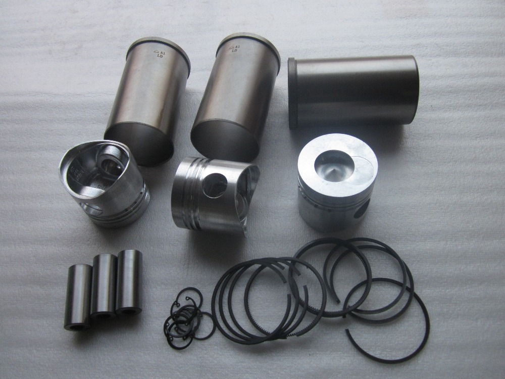 Laidong KAMA LL380BT (direct injection chamber), set of piston, piston pin, piston rings and cylinder liner for one engine use parts for changchai zn490q engine gasket piston rings cylinder liner main bearings water temp sender water pump pistons