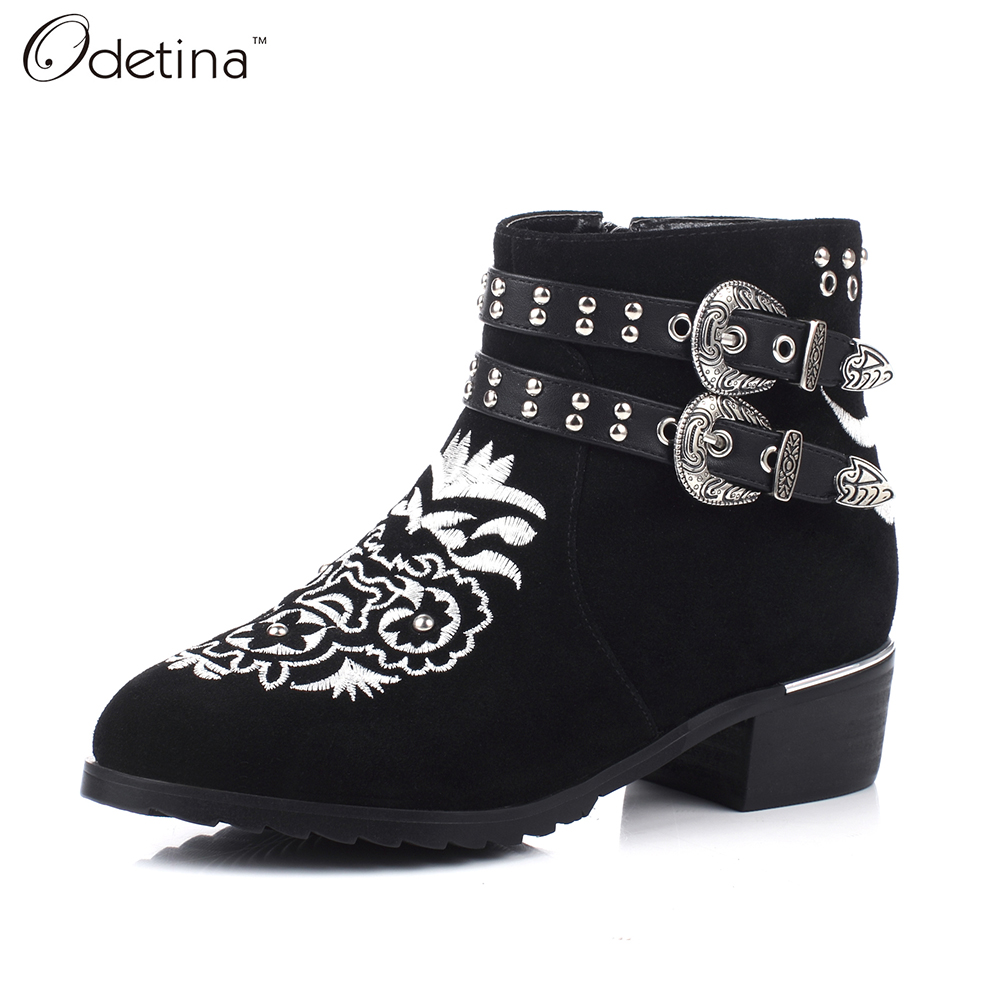ФОТО Odetina 2016 Handmade Large Size Women Genuine Leather Black Ankle Boots with Double Buckle Chunky Heel Booties with Side Zipper
