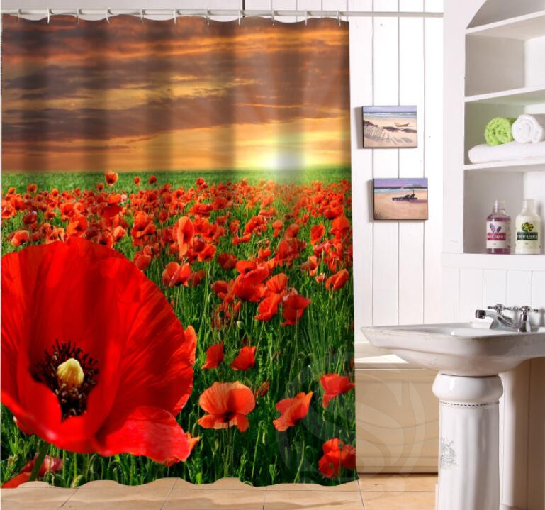 LUQI NEW ARRIVE The Beauty Of Poppy Personalized Custom Shower Curtain Bath Waterproof MORE SIZE P 89 In Curtains From Home Garden On
