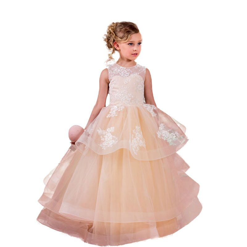 Girl Dress 2018 Sleeveless Kid Dresses Girls Clothes Party Princess Vestidos Nina birthday Dress Christmas baptism girl dress 2017 summer girls style fashion sleeveless printed dresses teenagers party clothes party dresses for girl 12 20 years