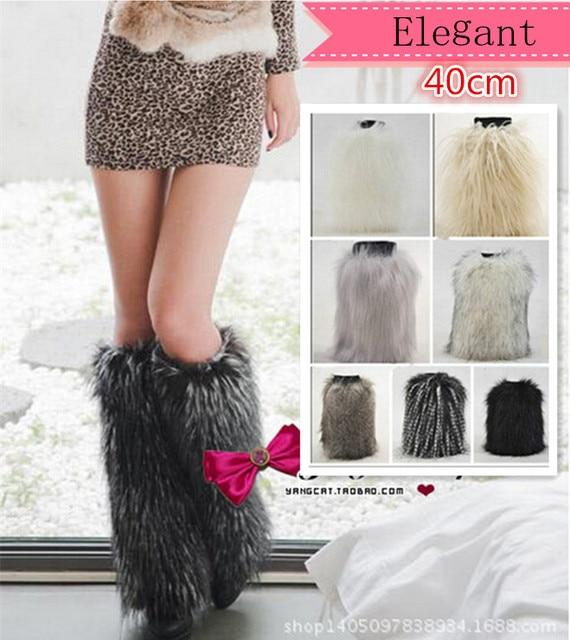 40 cm de comprimento mulheres polainas de moda de nova 2016 faux pele de raposa sapatos pernas das mulheres mais quentes meias boot inverno mulheres sexy botas punhos