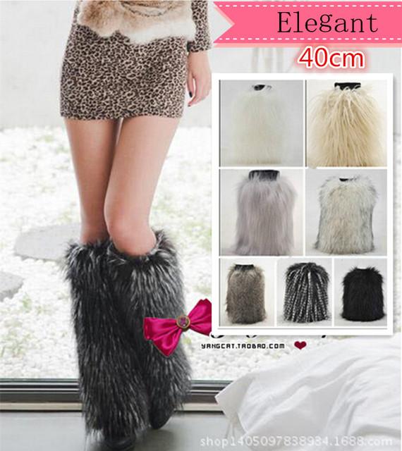 40 cm de largo las mujeres calentadores de la pierna de nueva moda 2016 imitación de piel de zorro zapatos piernas cálidas mujeres puños de arranque calcetines de invierno sexy botas de las mujeres