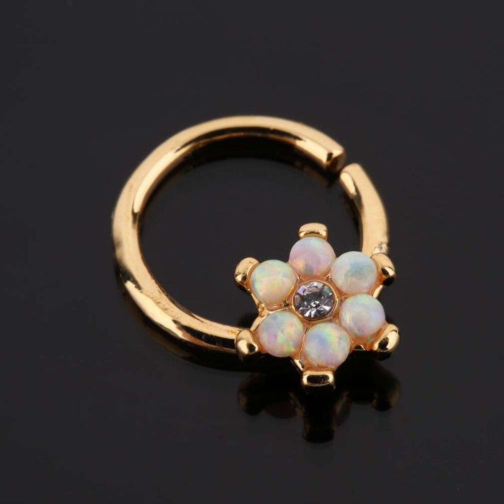 GENBOLI Stainless Steel Australian Stone Plated Flower Shape Ear Ring Ear Stud Woman Man Sexy Body Piercing Jewelry