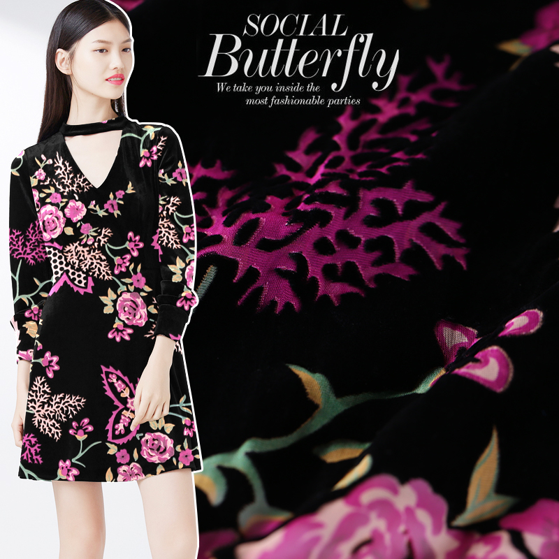 Burnout Velvet Fabric Drape Silk Velvet Fabric Breathable Comfort Clothing Cheongsam Dress Silk Fabric Wholesale Silk Cloth