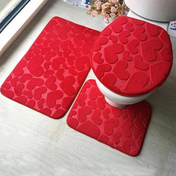 3Pcs Bathroom Mat Set Floor Rugs Embossing Flannel Cushion Toilet Seat Cover Bath Mat for Home Decoration Bathroom Product