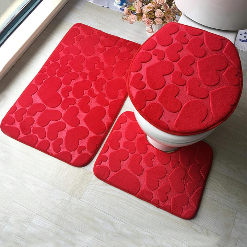 3Pcs/Set Bathroom Mat Set Embossing Flannel Floor Rugs Cushion Toilet Seat Cover Bath Mat for Home Decoration