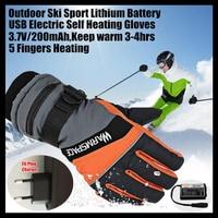 20p 2000MAH Women Smart USB Electric Heated Gloves,Boy&Girl Winter Warm Sporting 5 Finger Lithium Battery Self Heating,Windproof